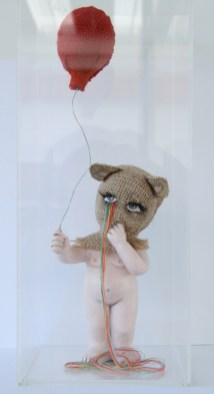 "Burlap, acrylic, thread, sculpture 5"" x 5"" x 13"" $750.00 Sold"