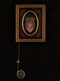 """Oil on canvas with chain and magnifying glass 3.5"""" x 4.5"""" $350.00 Sold"""