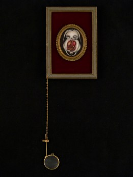 """Oil on canvas with chain and magnifying glass 3"""" x 4.75"""" $300.00 Sold"""