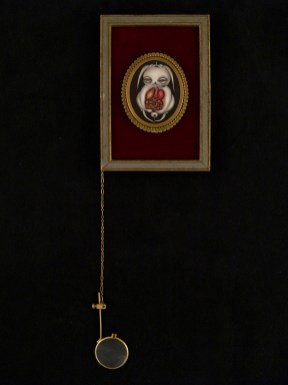 "Oil on canvas with chain and magnifying glass 3"" x 4.75"" $300.00 Sold"