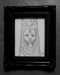 """Graphite on paper 2"""" x 3"""" $80.00 Sold"""