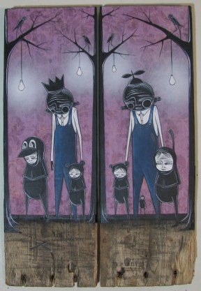 "Mixed media on wood Dyptych 11"" x 16.25"" $400.00 Sold"