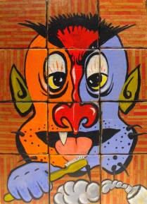 "Acrylic on wood blocks 10.5"" x 14"" $1,500.00 Sold"