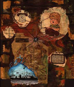 """Acrylic oil collage on cardboard 13.5"""" x 12"""" $1,000.00 Sold"""