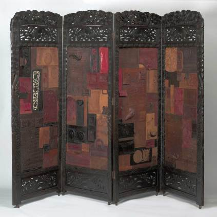 """Found screen with found Mexican leather & US alligator handbag collage 4 panels, 25"""" x 72"""", 72"""" total $5,000.00"""