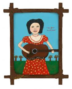 """Acrylic and vintage trading stamps on masonite in found antique frame 15"""" x 19"""" $2,500.00"""