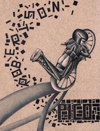 """Ballpoint pen and white pencil on chipboard 8"""" x 10.5"""" $1,200.00"""