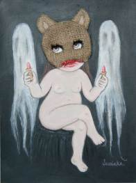 """Acrylic, burlap and embroidery thread on paper 9"""" x 12"""" $750.00"""
