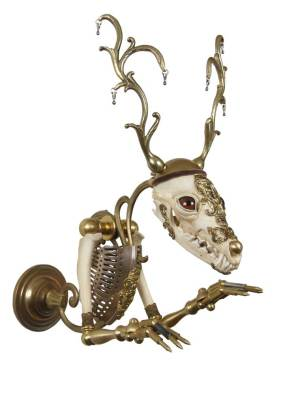 """Antique hardware and findings, brass, bone, velvet, umbrella tips, Victoria silver cutwork, lamp fixtures, glove leather, glass eyes 13"""" x 7"""" x 13"""" $4,800.00 Sold"""