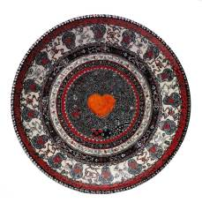 "Hand-painted low-fire wheel-thrown platter 22.5"" x 4"" $8,000.00 Sold"