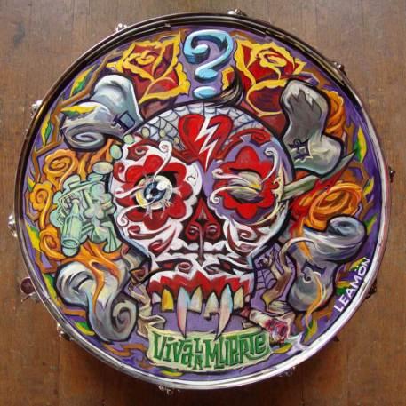 """Dave Leamon - Viva La Muerte (For Dali) oil on snare drum head 14.5"""" tondo (x6"""" deep) $500"""