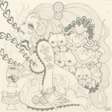 Junko Mizuno - Euphoria: Cats (drawing)
