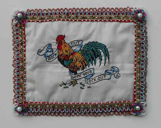 9 x 7 in. / 11 x 14 in. framed, Embroidery, beadwork on linen & satin $400.00