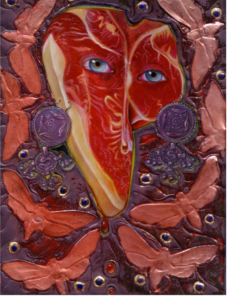 9 x 12 in. / 14 x 17 in. framed, Oil on wood, Basse Taille enamel copper gown $1,500.00