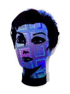 7.5 x 11 in. Holographic foil, polyester resin, spray paint stencil $225.00