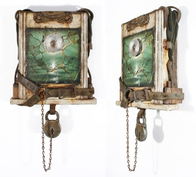 "Acrylic, paint chips, antique hardware, salvaged wood, recycled leather, velvet, chain, and masonite. 9.5"" x 18"" x 3.5"" $1,200.00"
