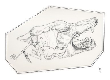 10 x 7 in. / 13 x 16 in. framed, Graphite on frosted acetate $700.00