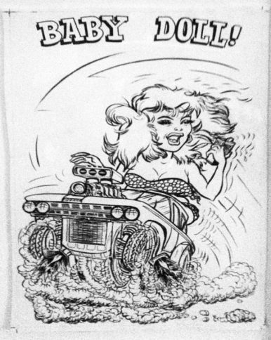 "Ed Newton* for Ed Roth Studio - Baby Doll (1960s) Ink, whiteout on paper. 9x14"" in 13x18"" frame. $400"