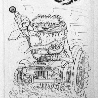 """Ed Newton* for Ed Roth Studio - Basket Case (1960s) Ink, whiteout on paper. 9x14"""" in 13x18"""" frame. $500"""