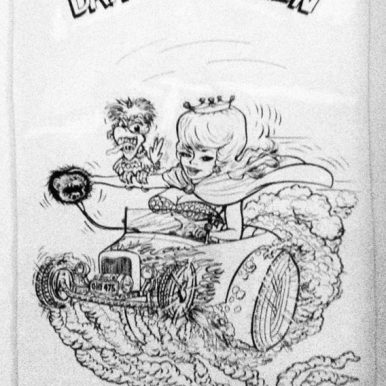 """Ed Newton* for Ed Roth Studio - Draggin Queen (1960s) Ink, whiteout on paper. 9x14"""" in 13x18"""" frame. $1,300"""