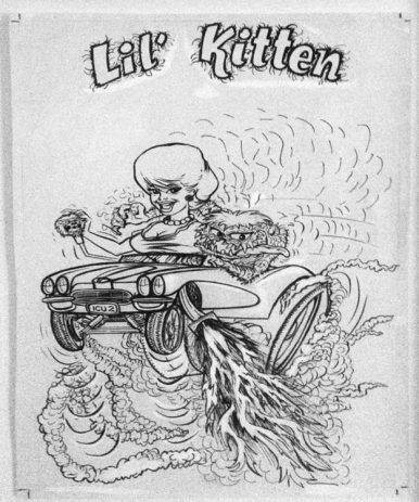 "Ed Newton* for Ed Roth Studio - Lil Kitten (1960s) Ink, whiteout on paper. 9x14"" in 13x18"" frame. $400"