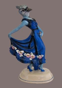 Click Mort, Blue Jay in a Floral Print Dress