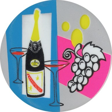 "J Bentley - Wine 4"" tondo screen printed steel $75"