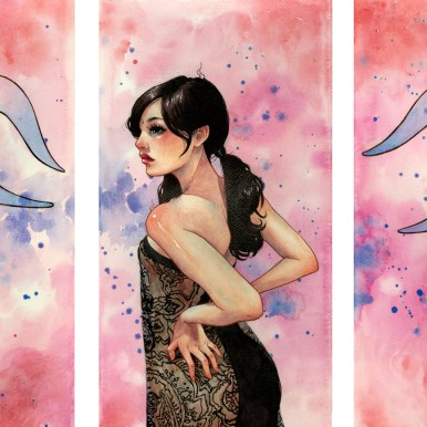 """Watercolor, ink, and acrylic glazing on 300lb cold press paper each panel 9.5 x 18"""", together 18 x 31.5"""" $2250.00 Sold"""