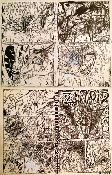 Self-published Underground Comix; Front and back illustrated for 4-page folding zine, 1983 Ink on paper 8.5 x 11 in. $3,000.00