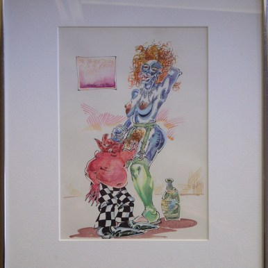 """(1992), Graphite, ink and watercolor on paper 7"""" x 10"""" in 12"""" x 15"""" frame $1,800.00"""