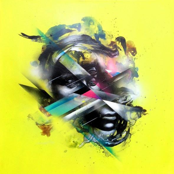 Allison 'Hueman' Torneros – GathererAcrylic and spraypaint on canvas, 22 x 24 in. $2,200