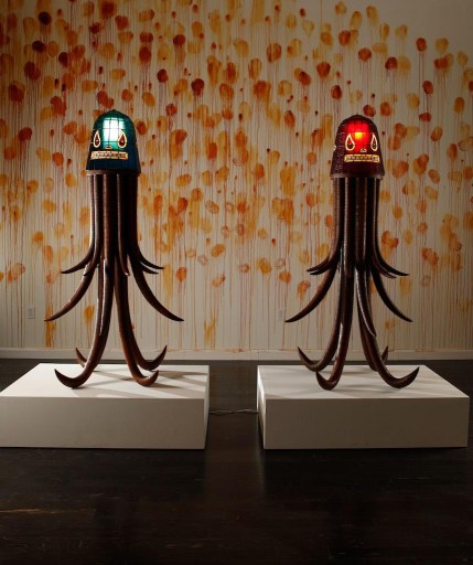 Stained glass head, teak and bamboo base, 34 x 34 x 72 in. $11,000.00