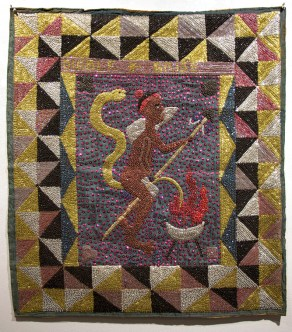 Fabric, sequins, and beads, 32.5 x 36 in. $1,500.00 Sold