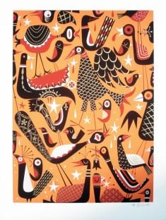 Tim Biskup - Bird VirusSilkscreen on heavy stock paper (edition of 200), 18 x 24 in. $250