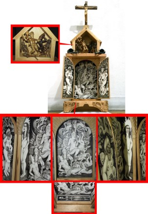 Brushed ink and pyrography on wood sculpture, and bird skulls, 33 x 11 x 5 in. $2,000.00 Sold