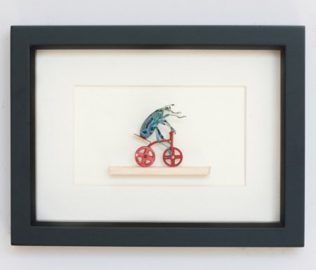 Wood Shadowbox with real preserved weevil riding miniature tricycle, 6 x 8 x 1.5 in. $185.00