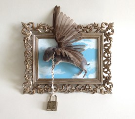 Taxidermy newborn rabbit house sparrow wings, recycled glove leather, jewelry chain, vintage lock and frame, acrylic and wood, 5.5 x 7 x 3.5 in. $300.00 Sold