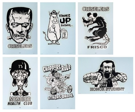 Frank Kozik - Decal Print Set3 color (black, white, and clear) silkscreen print on heavy blue stock (edition of 50), set of 6 prints, 12 x 18 in. $100