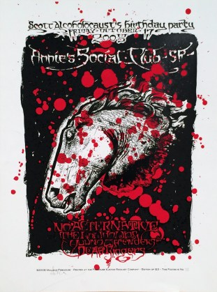 Malleus - Scott Alcoholocaust Birthday Party Silkscreen print on heavy stock white paper (edition of 125), 17.5 x 23 in. $200