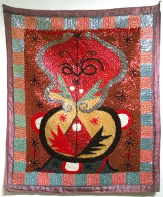 Fabric, sequins, and beads, 34.5 x 41 in. $2,500.00