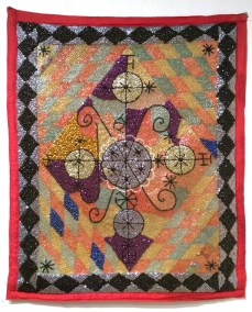 Fabric, sequins, and beads, 34 x 40 in. $2,500.00