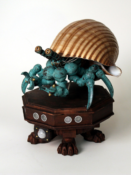 Animatronics, copper plated cast urethane resin and fiberglass, taxidermy eyes and sea shell. 12x8x10 in. $2,800.00