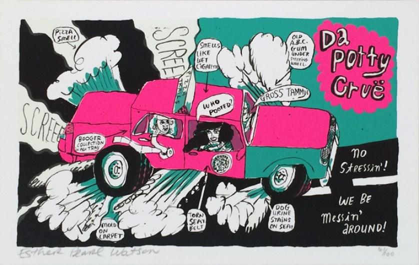 Esther Pearl Watson - Da Patty CrueSilkscreen print on heavy stock white paper, (edition 61 of 100) 12 x 7.5 in. $20