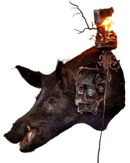 Taxidermy boar, mixed media, 20 x 28 x 24 in. from wall, $1,500.00