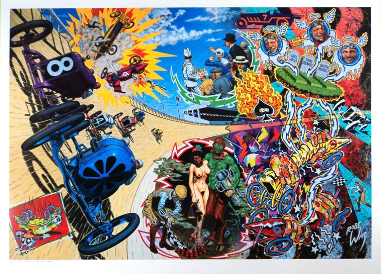 Robert Williams - Death on the Boards Lithograph on archival paper, signed, edition of 350, 25.25 x 35 in. $250, Poster, unsigned, $150