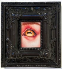 Oil stain on distressed panel, 3.5 x 2.75 in. (8 x 7 in. framed) $275 Sold