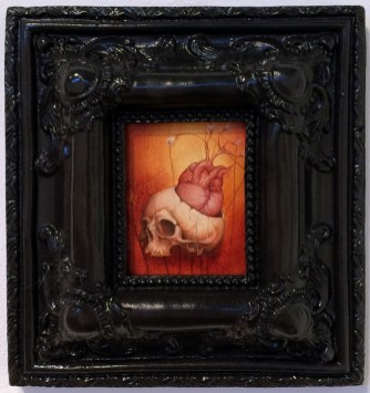 Oil stain on distressed panel, 3.5 x 2.75 in. (framed) $275 Sold