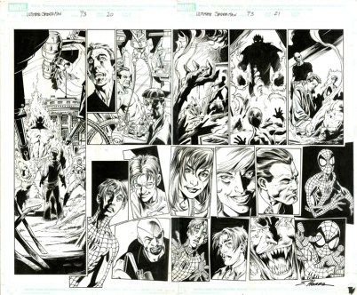 """ULTIMATE SPIDERMAN (2007) - Brian Michael Bendis, Mark Bagley & Scott Hanna (signed), Issue #73, Pages 20-21: Double Page Splash, Full Cast Flashback, 22"""" x 17"""" $1,500"""