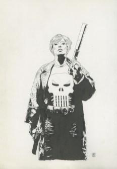 "PUNISHER (2007) WIDOWMAKER - Garth Ennis & Tim Bradstreet (signed), Punisher #49, Cover: Widowmaker conclusion, 11"" x 17"" $1,500"