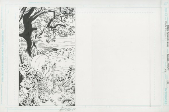 "FABLES (2009) THE DARK AGES - Bill Willingham, Mark Buckingham & Andrew Pepoy (signed), Issue #81, Page 24: The Grave of Boy Blue, Final Page Splash of ""The Dark Ages"" 17"" x 11"" $1,500"